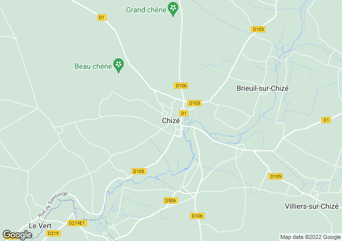 Map for Poitou-Charentes, Deux-Sèvres, Chizé