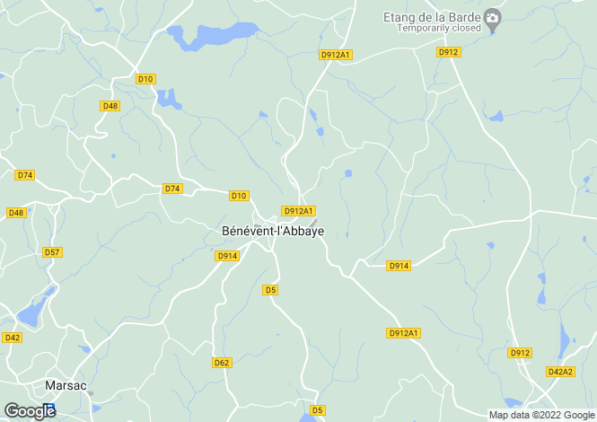 Map for benevent-labbaye, Creuse, France