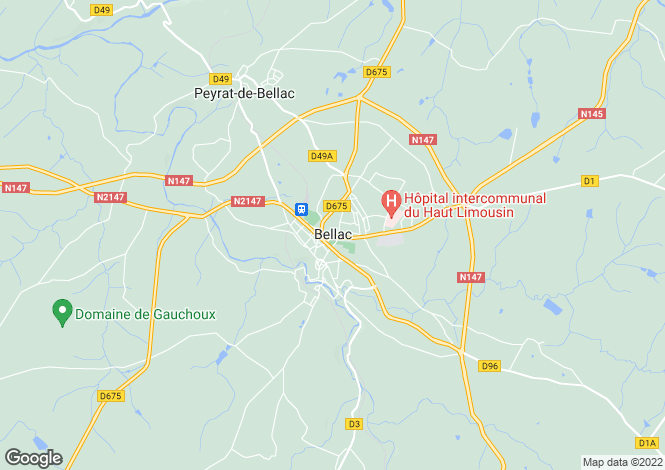 Map for Bellac, Haute-Vienne, 87300, France