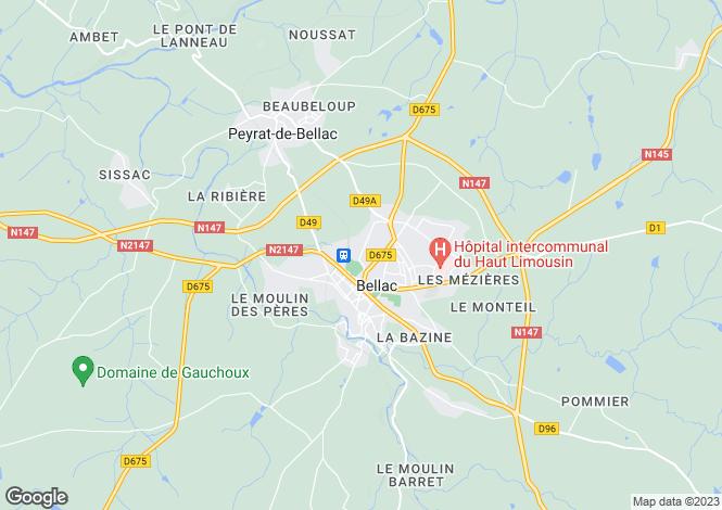 Map for Secteur: Bellac, Haute Vienne