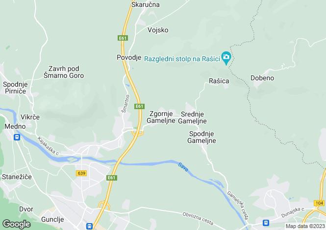 Map for Zgornje Gamelje, Ljubljana, Slovenia