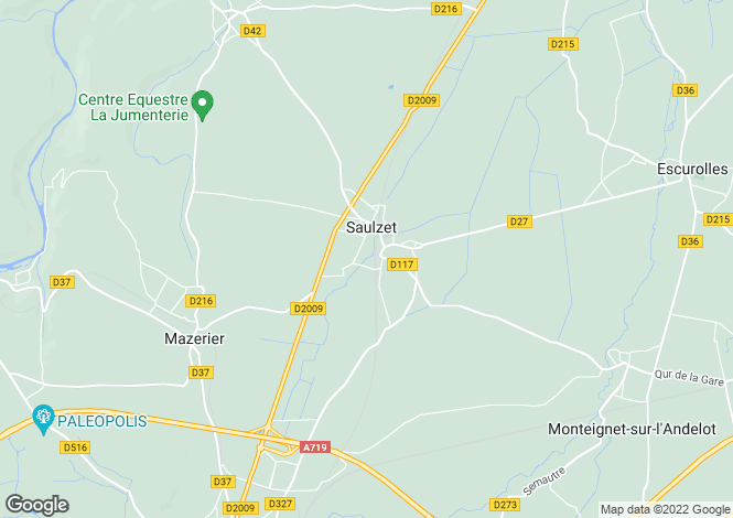 Map for saulzet, Allier, France