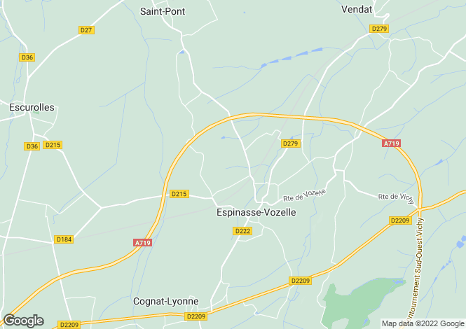 Map for espinasse-vozelle, Allier, France