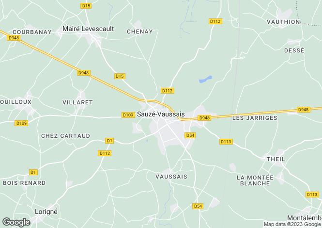 Map for Poitou-Charentes, Deux-Sèvres, Sauzé-Vaussais