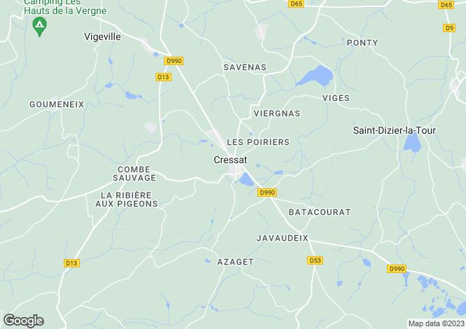 Map for cressat, Creuse, France