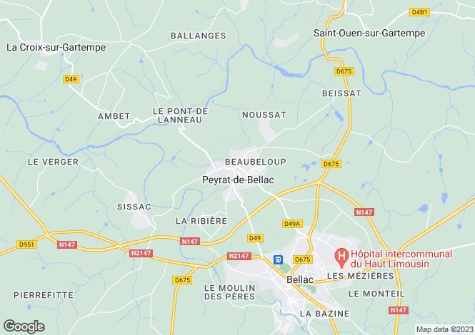 Map for Limousin, Haute-Vienne, Peyrat-de-Bellac