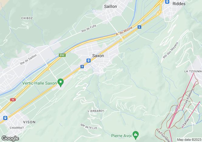 Map for Valais, Saxon