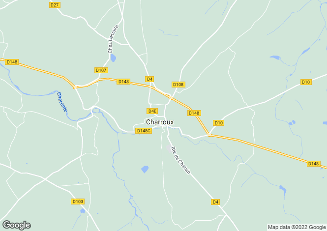 Map for charroux, Vienne, France
