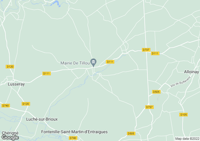 Map for tillou, Deux-Sèvres, France
