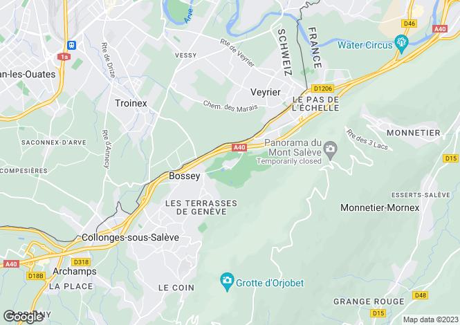 Map for Rhone Alps, Haute-Savoie, Bossey