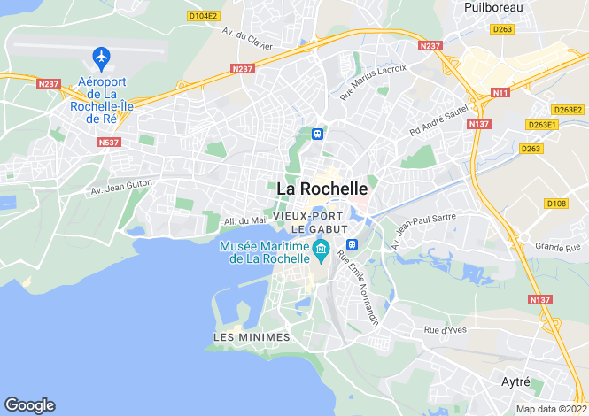 Map for Poitou-Charentes, Charente-Maritime, La Rochelle
