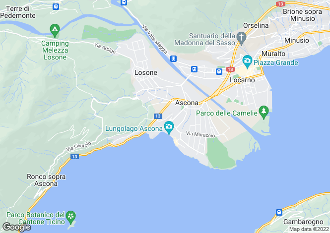 Map for Ticino, Ascona