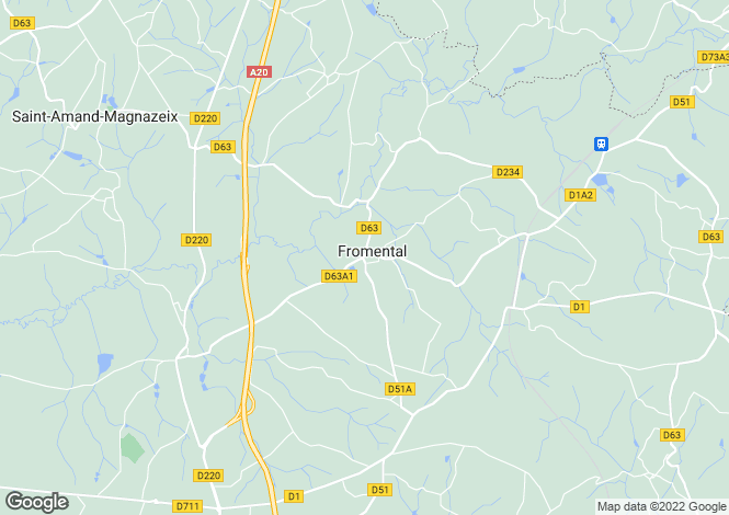 Map for Limousin, Haute-Vienne, Fromental