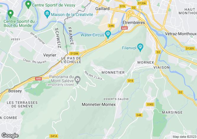 Map for Monnetier-Mornex, Haute-Savoie, Rhone Alps