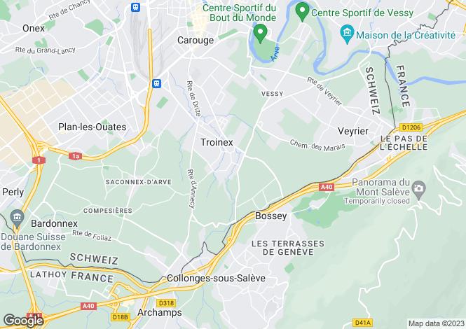 Map for Troinex, Geneva, Switzerland