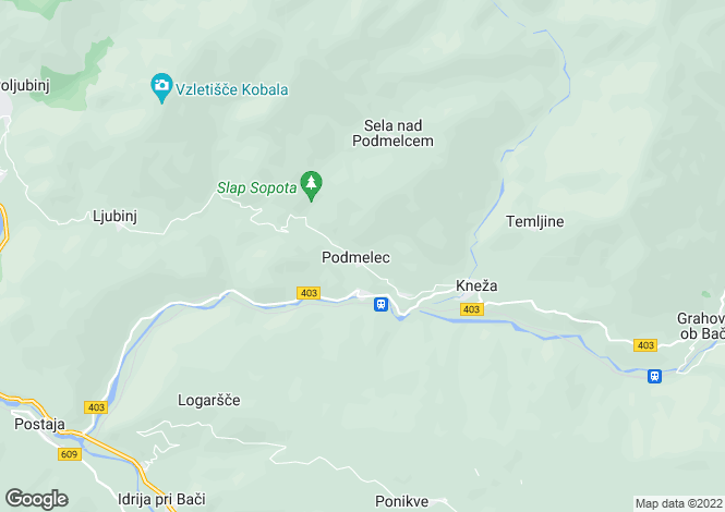 Map for Tolmin, Most na Soci