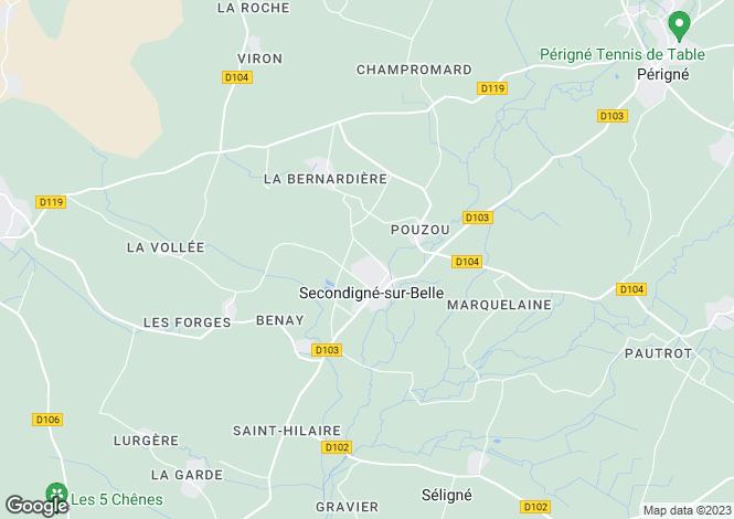 Map for Poitou-Charentes, Deux-Sèvres, Secondigné-sur-Belle