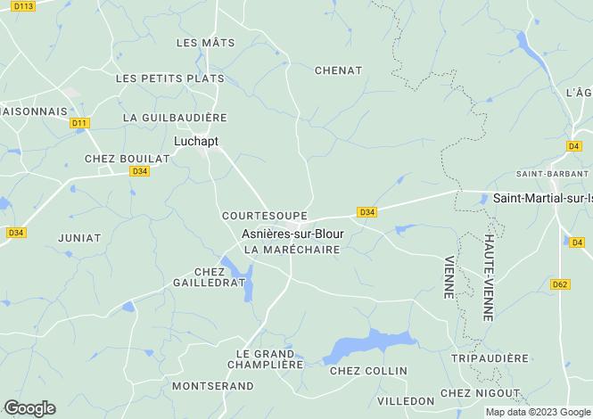 Map for Asnières-sur-Blour, Vienne, Poitou-Charentes