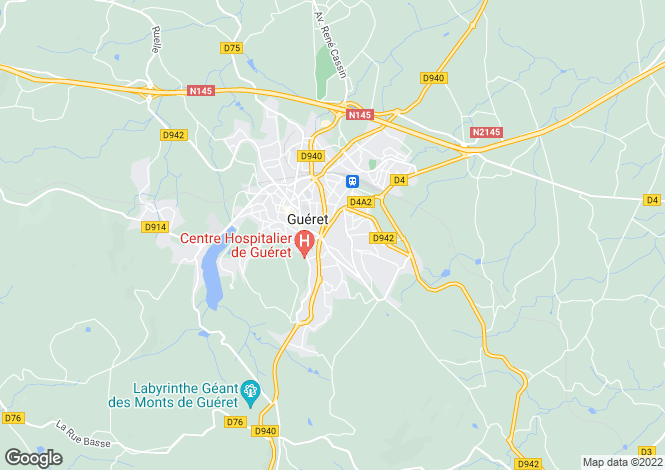 Map for gueret, Creuse, France