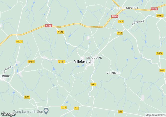 Map for Limousin, Haute-Vienne, Villefavard