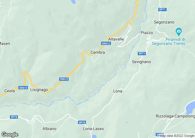 Map for Trentino-South Tyrol, Trento, Cembra