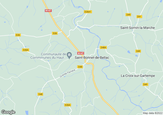 Map for st-bonnet-de-bellac, Haute-Vienne, France