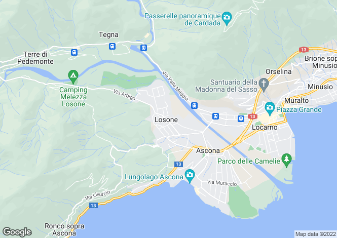 Map for Ticino, Losone