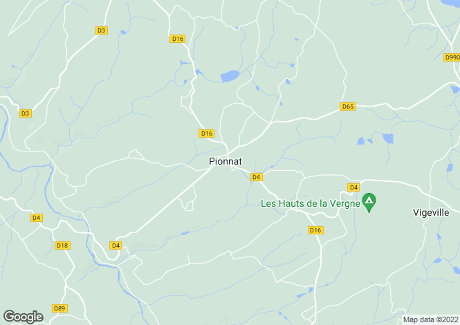 Map for pionnat, Creuse, France