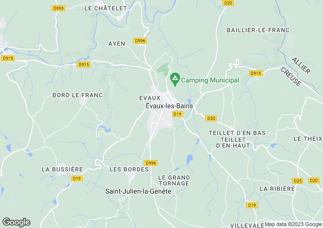 Map for evaux-les-bains, Creuse, France