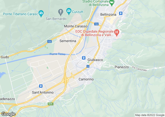 Map for Ticino, Giubiasco