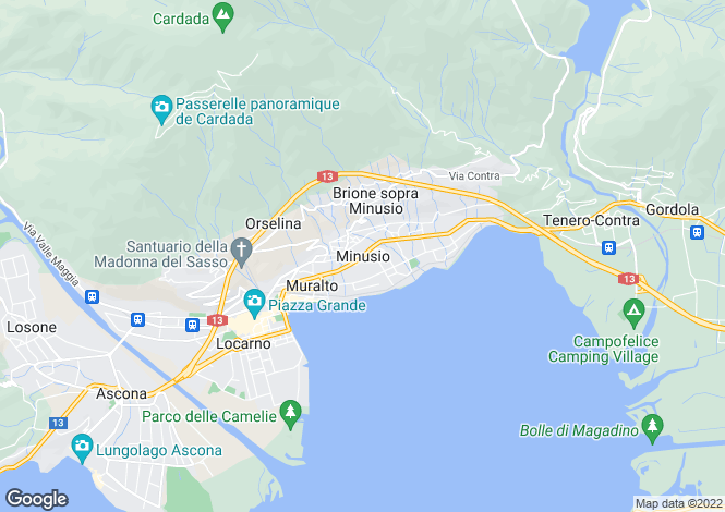 Map for Ticino, Minusio