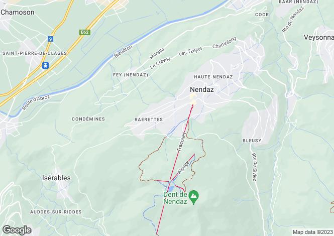 Map for Les Rairettes, Nendaz, Valais