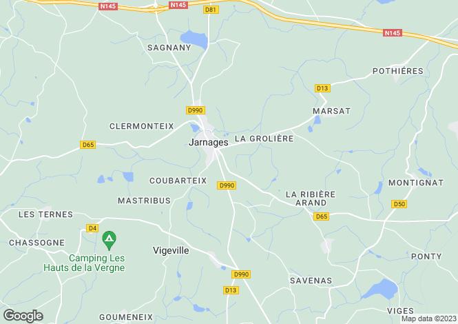 Map for jarnages, Creuse, France