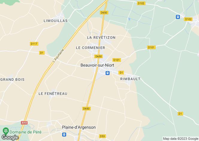 Map for Poitou-Charentes, Deux-Sèvres, Beauvoir-sur-Niort