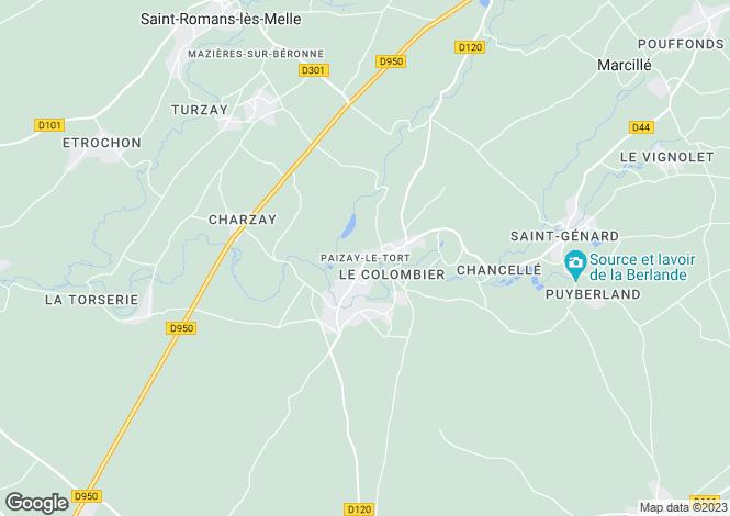 Map for Poitou-Charentes, Deux-Sèvres, Paizay-le-Tort