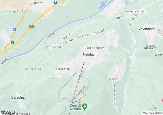 Map for Nendaz, Valais