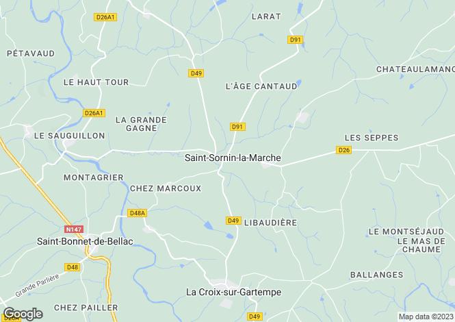 Map for st-sornin-la-marche, Haute-Vienne, France