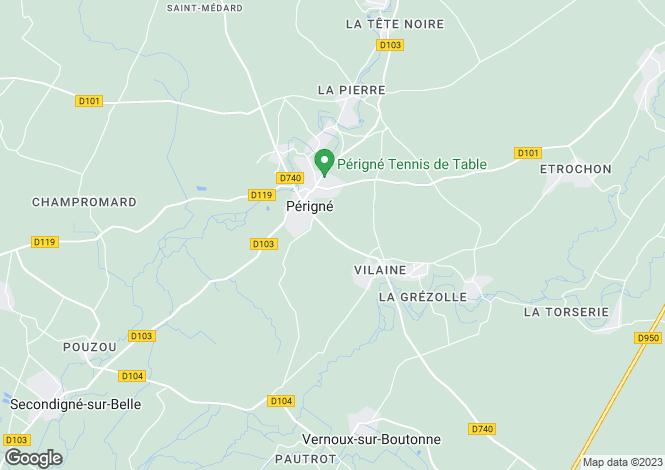 Map for Poitou-Charentes, Deux-Sèvres, Périgné
