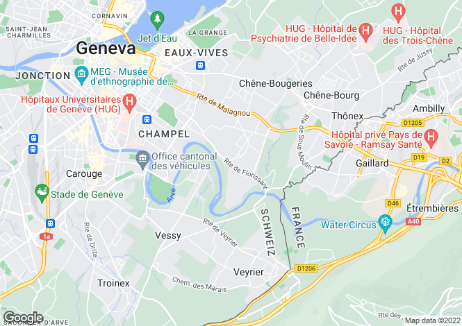 Map for Genève, Conches