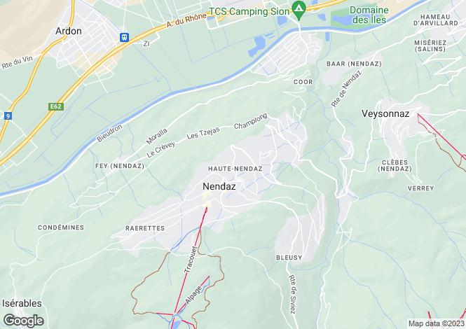 Map for Aargau, Haute Nendaz
