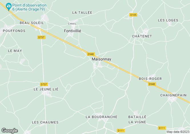 Map for Poitou-Charentes, Deux-Sèvres, Maisonnay