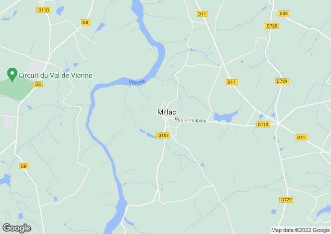 Map for millac, Vienne, France