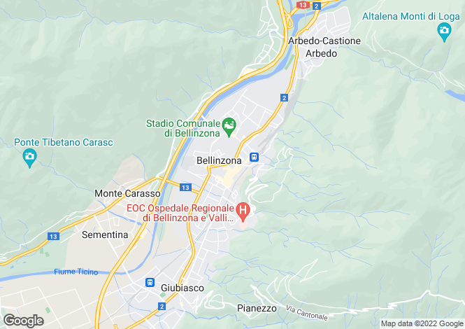 Map for Ticino, Bellinzona