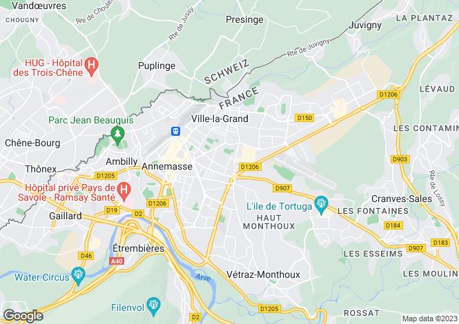 Map for Rhone Alps, Haute-Savoie, Annemasse