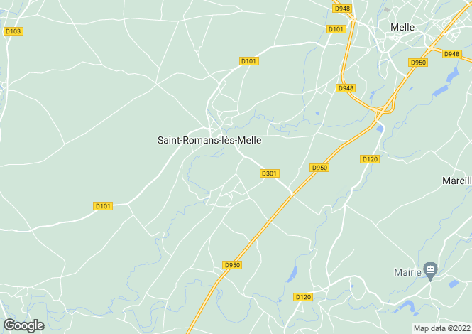 Map for st-romans-les-melle, Deux-Sèvres, France