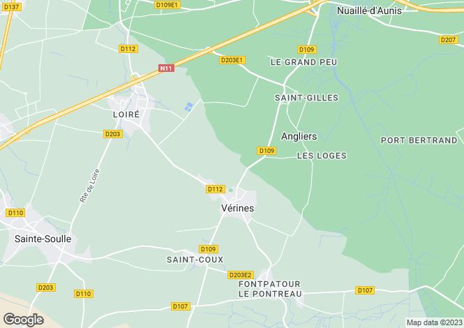 Map for Poitou-Charentes, Charente-Maritime, Vérines