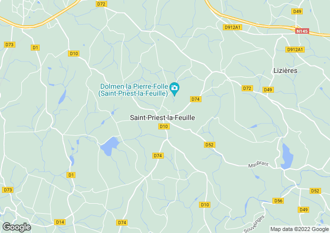 Map for st-priest-la-feuille, Creuse, France