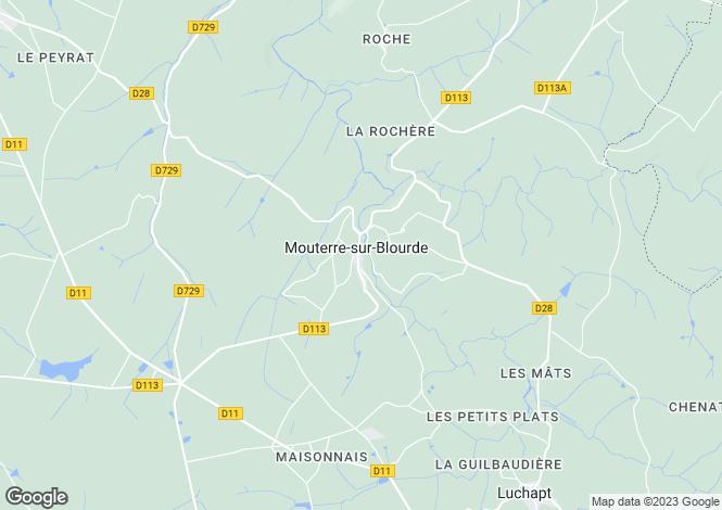 Map for Poitou-Charentes, Vienne, Mouterre-sur-Blourde