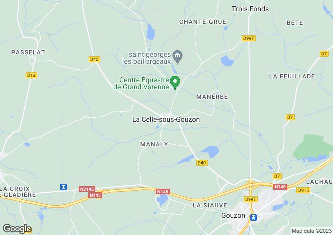 Map for la-celle-sous-gouzon, Creuse, France