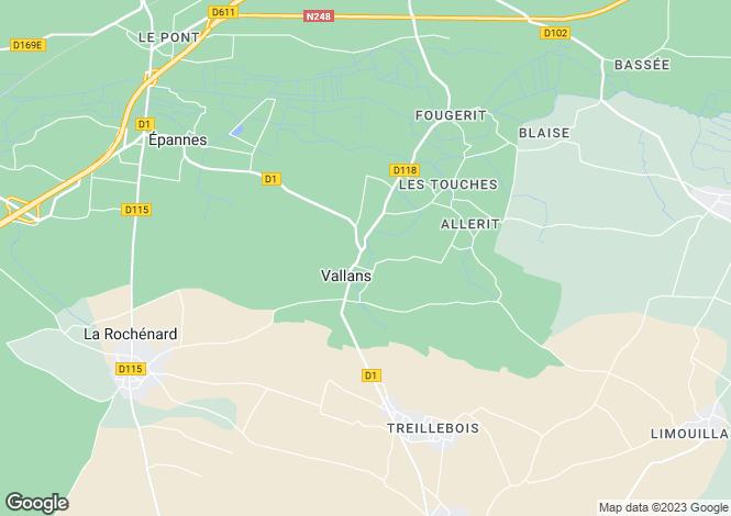 Map for vallans, Deux-Sèvres, France